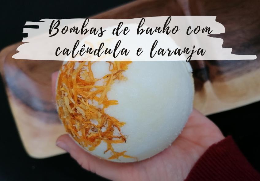 Bombas de banho com calêndula e laranja